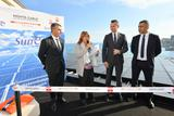 Inauguration Panneaux solaires MCB - From left to right: Frédéric Darnet, Director of the Monte-Carlo Bay; Marie-Pierre Gramaglia, Minister of Public Works, the Environment and Urban Development; Thomas Battaglione, Chief Executive Officer of SMEG, and Achour Daira, Technical Director of the Monte-Carlo Bay © Government Communication Department/Michael Alési