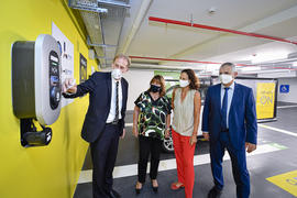 "MONACO ON 1 - From left to right: Gilles Manera, ""Operational Section"" of the Public Car Parks Office, Marie-Pierre Gramaglia, Minister of Public Works, the Environment and Urban Development, Annabelle Jaeger-Seydoux, Director of the Mission for Energy Transition and Jean-Luc Puyo, Director of Urban Amenities. ©Direction de la Communication/Stéphane Danna"
